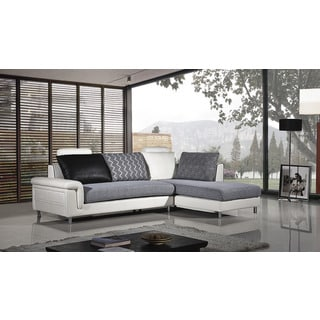 American Eagle Grey & White Fabric Sectional - Left Chaise