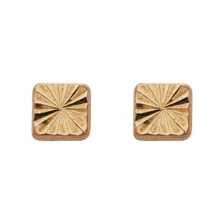 Decadence 14k Yellow Gold Diamond-cut Square Hat Stud Earring