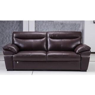 American Eagle Dark Chocolate Italian Leather Sofa