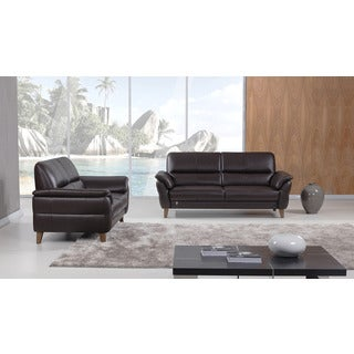 American Eagle Dark Chocolate Italian Leather Sofa Set