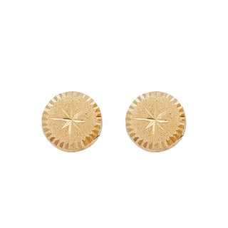 Decadence 14k Yellow Gold Star Diamond-cut Center Circle Hat Stud Earrings