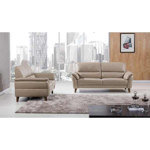 Merveilleux American Eagle Tan Italian Leather 2 Piece Sofa Set