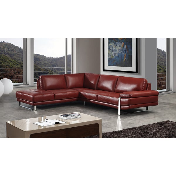 Shop American Eagle Red Italian Leather Sectional