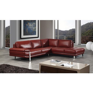 American Eagle Red Italian Leather Left Chaise Sectional
