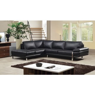 American Eagle Black Italian Leather Right Chaise Sectional