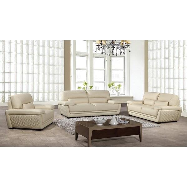 American Eagle Cream Italian Leather Sofa Set