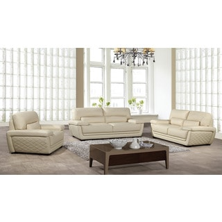American Eagle Cream Italian Leather Sofa Set