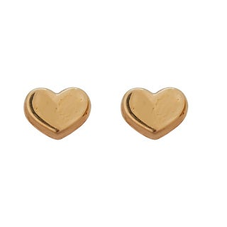 Decadence 14k Yellow Gold High-polish Heart Hat Stud Earrings