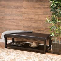Avary Wood Rectangular Storage Ottoman Bench with Bottom Rack by Christopher Knight Home