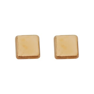 Decadence 14K Yellow Gold High Polished Square Hat Stud Earring