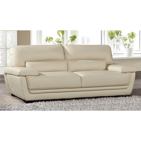 American Eagle Cream Italian Leather Sofa