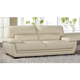 American Eagle Cream Italian Leather Sofa