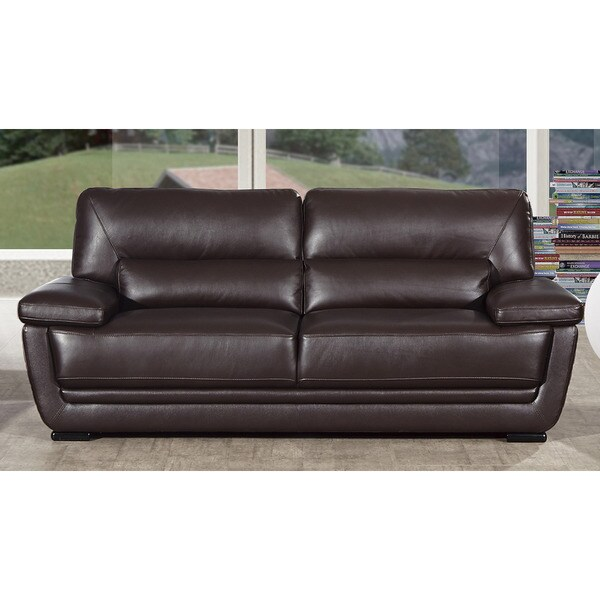 Shop American Eagle Dark Brown Italian Leather Sofa Free Shipping