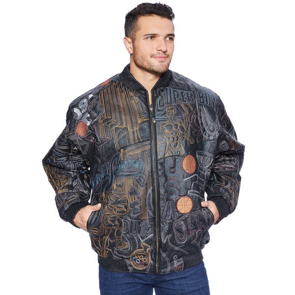 Wilda Men's Big & Tall Bubble Well Sports Black/Multicolor Leather Jacket
