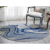 "Nourison Somerset Light Blue Area Rug (5'6 Round) - 5'6"" Round"