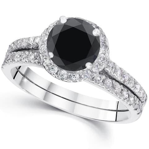 14k White Gold 2 1/2ct TDW Black Diamond Halo Engagement Wedding Ring Set