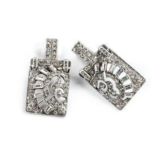 Sweet Romance Art Deco Silver Crystal Vintage Marquee Earrings