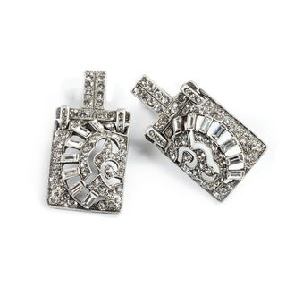 Sweet Romance Art Deco Silver Crystal Vintage Marquee Earrings
