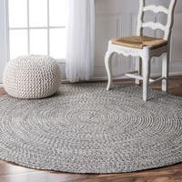 Oliver & James Rowan Handmade Grey Braided Area Rug (6' Round)