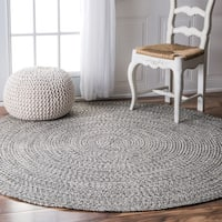 Oliver & James Rowan Handmade Grey Braided Area Rug - 6' Round