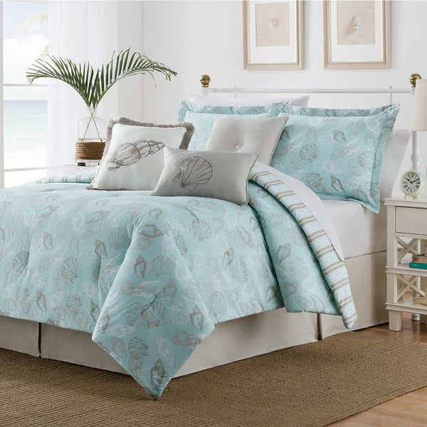 Seashell Blue/ Tan 7-piece Duvet Set