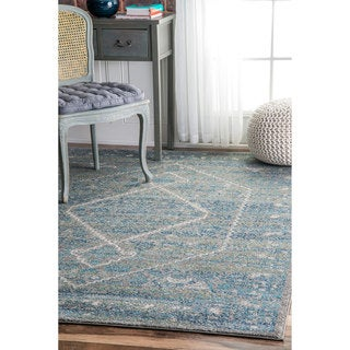 nuLOOM Persian Mamluk Diamond Blue Rug (9' x 12')