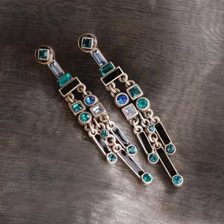 Sweet Romance Art Deco Crystal Enamel Fringe Earrings