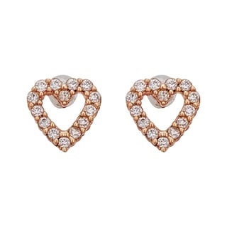 Decadence 14K Yellow Gold Micropave Open Heart Hat Stud Earring