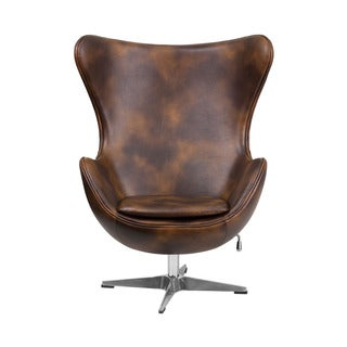 Offex Retro Style Padded Cushion Upholstery Leather Egg Chair with Tilt-Lock Mechanism
