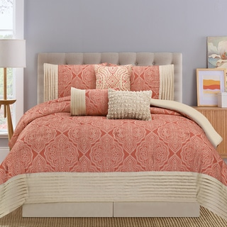 Montpellier Coral and Tan 7-piece Comforter Set