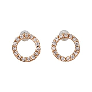 Decadence 14K Yellow Gold Micropave Open Circle Hat Stud Earrings