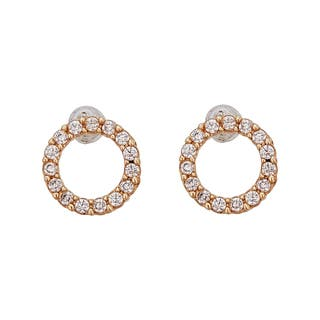 Decadence 14K Yellow Gold Micropave Open Circle Hat Stud Earrings|https://ak1.ostkcdn.com/images/products/12184345/P19034173.jpg?impolicy=medium