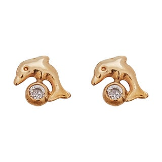Decadence 14K Yellow Gold 6mm Round CZ Bezel Screw Back Stud Earring
