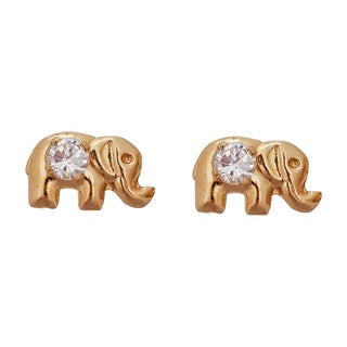 Decadence 14K Yellow Gold High-polished Elephant Hat Stud Earrings