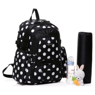 Colorland Large Backpack Diaper Bag, Black Polka Large Backpack Diaper Bag, Black Polka