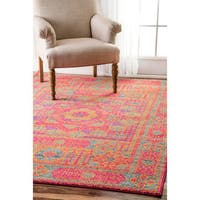 nuLOOM Persian Mamluk Medallion Orange Rug (5' x 7'5) - 5' x 7'5