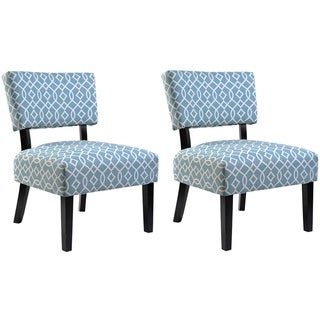 Charlotte Blue and White Fabric Accent Chair with Solid Wood Legs (Set of 2)
