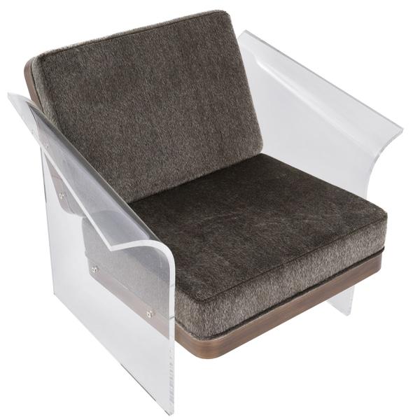 Mohair Fabric Walnut Wood Float Acrylic Accent Chair