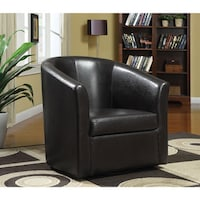 shop living room barrel style red upholstered swivel accent chair