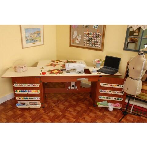 Arrow 'Bertha' Cherry Finish Sewing Machine Table and Organization Cabinet