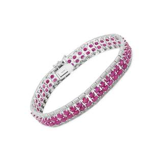 Magnolia Sterling Silver 20ct TW Ruby Tennis Bracelet