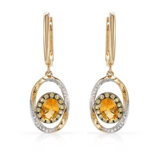 Vida 14k Gold 1 3/4ct TW Citrine Earrings