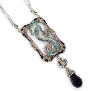 Sweet Romance Art Deco Enamel Seahorse Marcasite Necklace