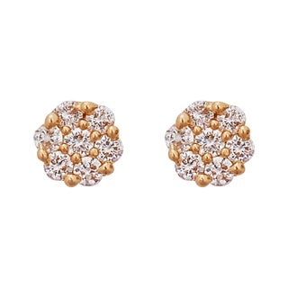 Decadence 14K Yellow Gold Micropave Open CZ Circle Screw Back Stud Earring