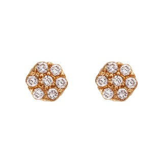 Decadence 14k Yellow Gold High-polished Open Flower Silhouette Screw Back Stud Earring with CZ
