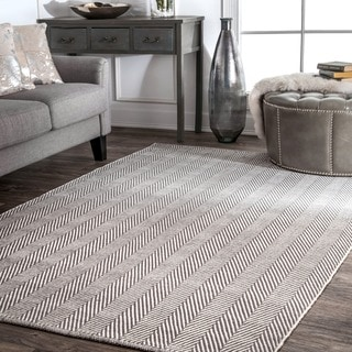 nuLOOM Handmade Flatweave Herringbone Chevron Grey Cotton Rug (6' x 9')