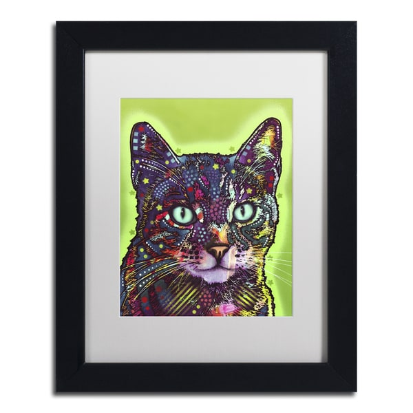 Dean Russo 'Watchful Cat' Matted Framed Art