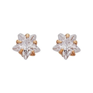 Decadence 14K Yellow Gold High-polished Turtle Silhouette Screw Back Stud Earring with CZ