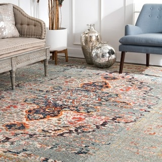 nuLOOM Distressed Traditional Vintage Medallion Grey Rug (7'10 x 11')