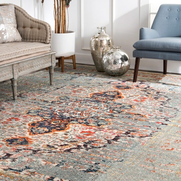 Nuloom Distressed Traditional Vintage Medallion Grey Rug